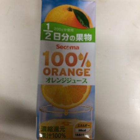 Secoma 100%ジュース オレンジ 【セイコーマート】のパッケージ画像
