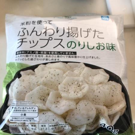 トップバリュ 米粉を使ってふんわり揚げたチップス のりしお味 【イオン】のパッケージ画像